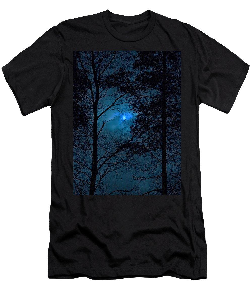 Lehtokukka Men's T-Shirt (Athletic Fit) featuring the photograph Moonshine 10 Blue Sky by Jouko Lehto