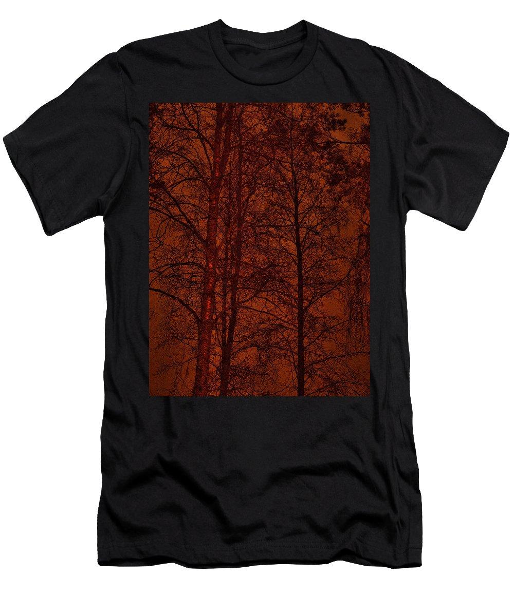Lehtokukka Men's T-Shirt (Athletic Fit) featuring the photograph Moonshine 11 Red Sky by Jouko Lehto