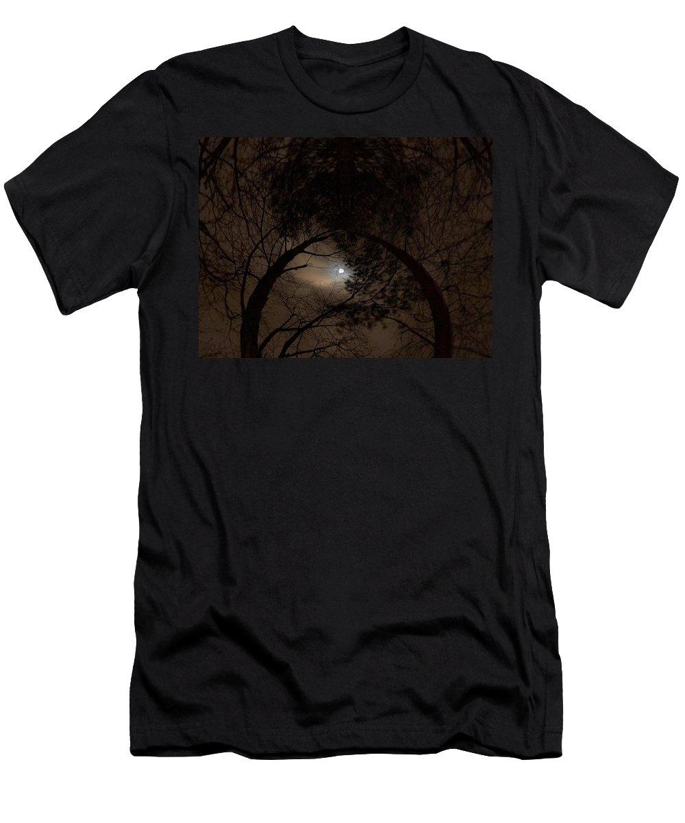 Lehtokukka Men's T-Shirt (Athletic Fit) featuring the photograph Moonshine 14 The Trees by Jouko Lehto