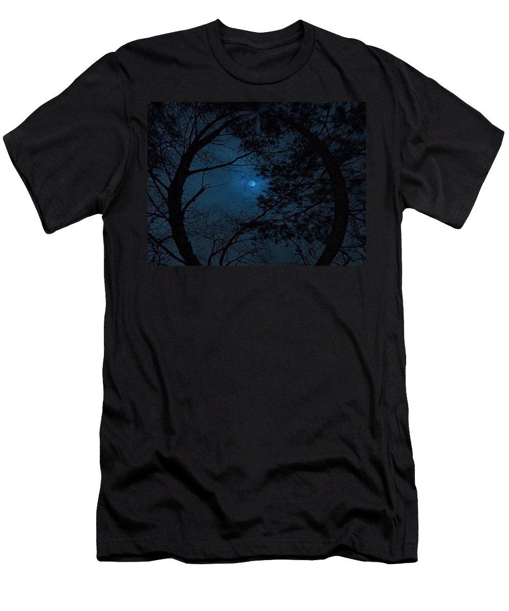 Lehtokukka Men's T-Shirt (Athletic Fit) featuring the photograph Moonshine 16 The Trees by Jouko Lehto