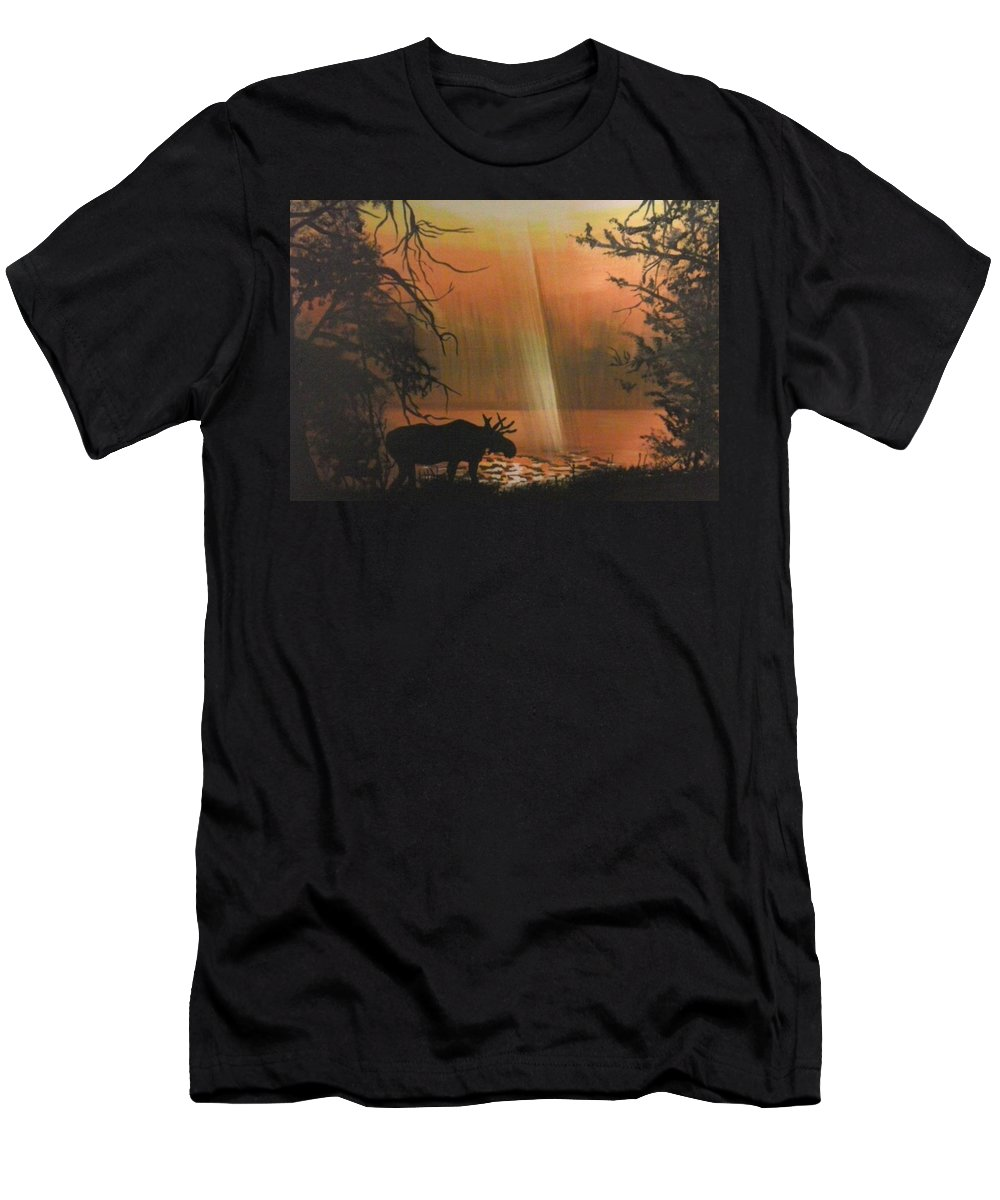 Sunrise Men's T-Shirt (Athletic Fit) featuring the painting Moose In The Morning by Dolores Brittain