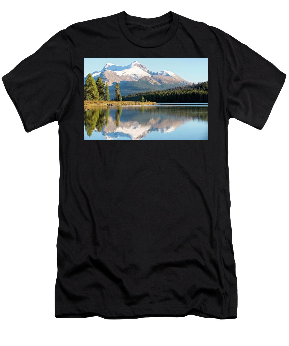Moose Men's T-Shirt (Athletic Fit) featuring the photograph Moose On The Lake by Deborah Penland