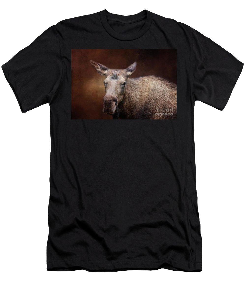 Moose Men's T-Shirt (Athletic Fit) featuring the photograph Moose Portrait by Eva Lechner