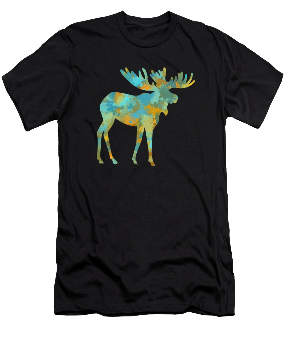 Moose Men's T-Shirt (Athletic Fit) featuring the mixed media Moose Watercolor Art by Christina Rollo