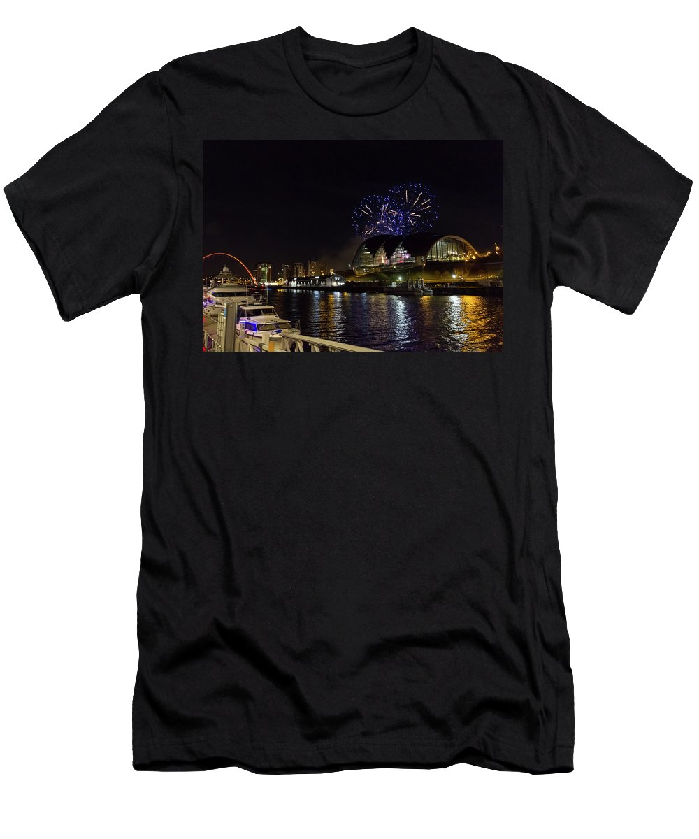Christmas Men's T-Shirt (Athletic Fit) featuring the photograph More Fireworks At Newcastle Quayside On New Year's Eve by Iordanis Pallikaras