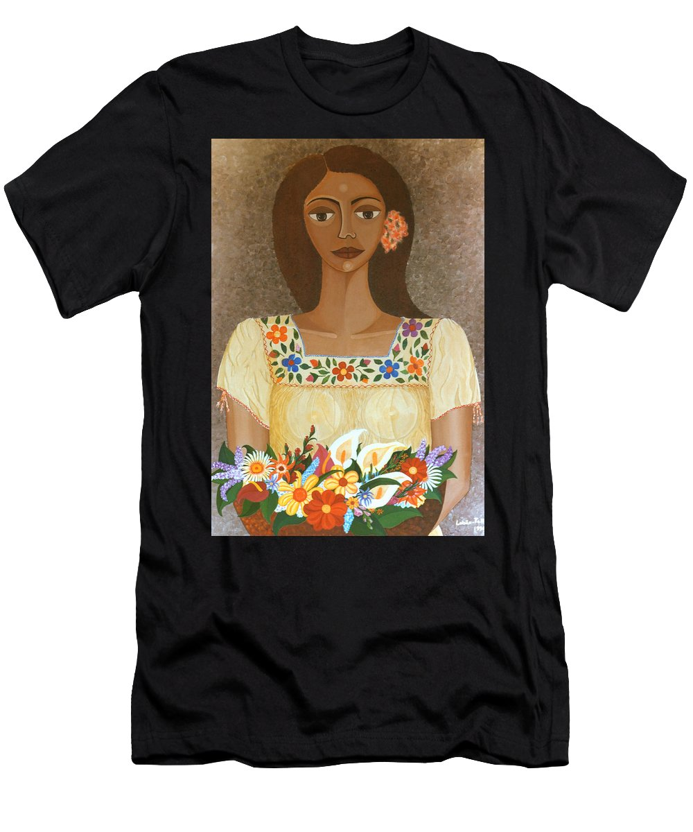 Oil Men's T-Shirt (Athletic Fit) featuring the painting More Than Flowers She Sold Illusions by Madalena Lobao-Tello