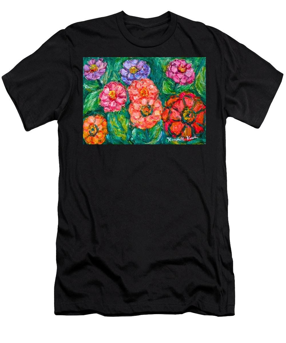Flowers Men's T-Shirt (Athletic Fit) featuring the painting More Zinnias by Kendall Kessler