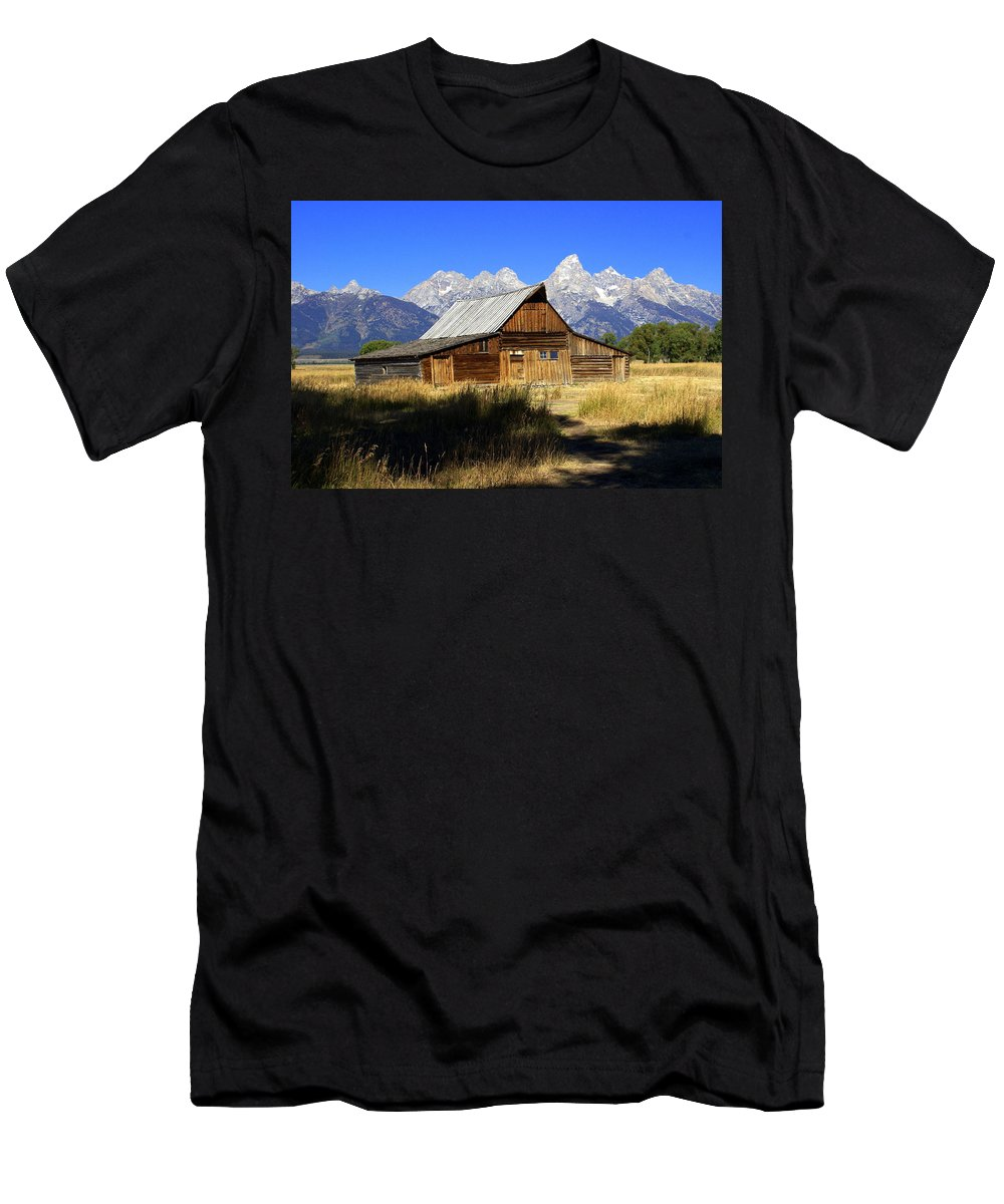 Barn Men's T-Shirt (Athletic Fit) featuring the photograph Mormon Row Barn 2 by Marty Koch