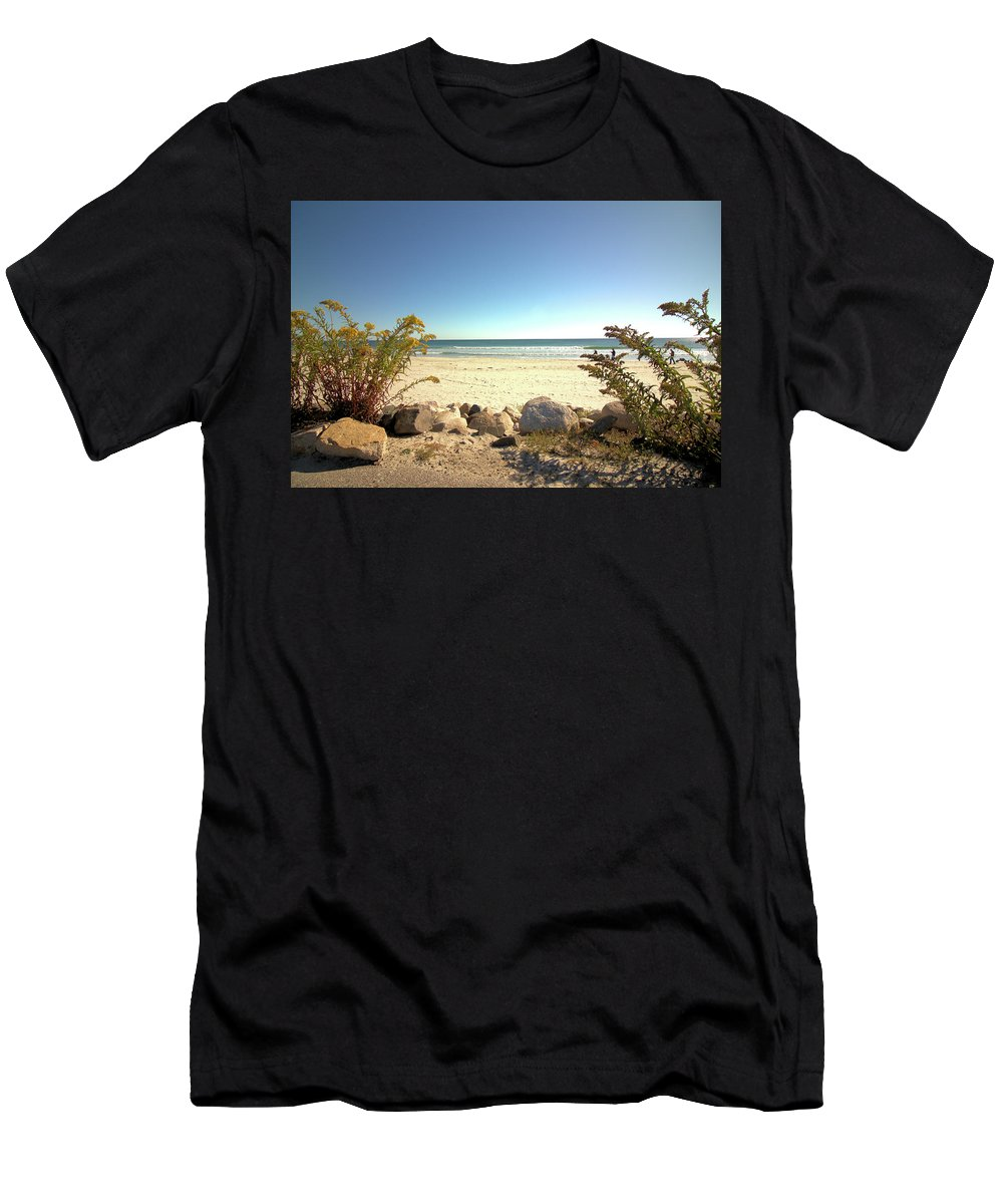 Beach Men's T-Shirt (Athletic Fit) featuring the photograph Morning At Qgunquit Beach. by Robert McCulloch