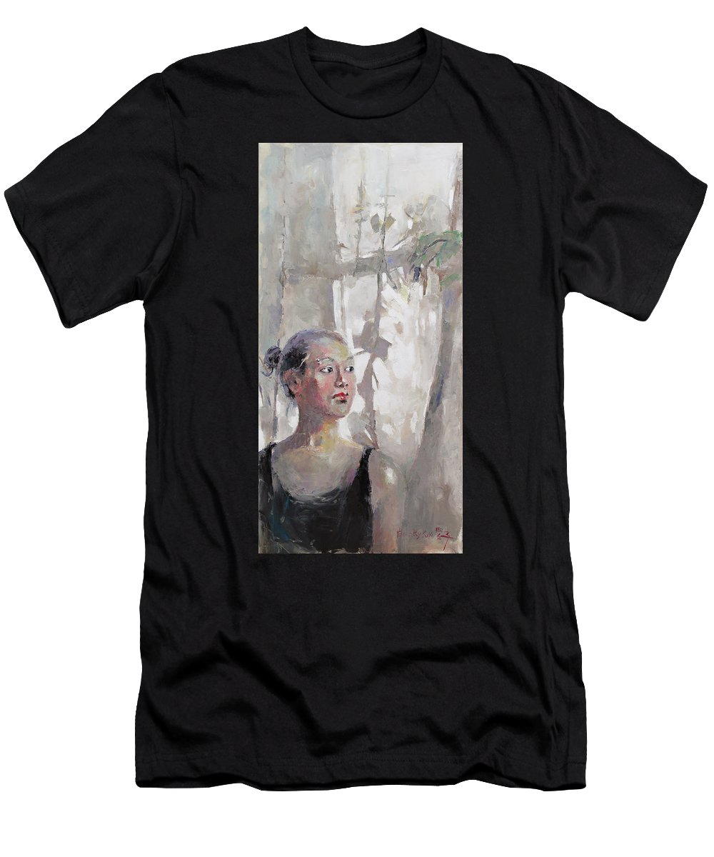 Oil Men's T-Shirt (Athletic Fit) featuring the painting Morning by Becky Kim