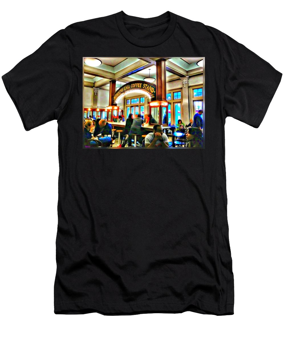 New Orleans Men's T-Shirt (Athletic Fit) featuring the digital art Morning Call Coffee Stand by Elizabeth Sumphere