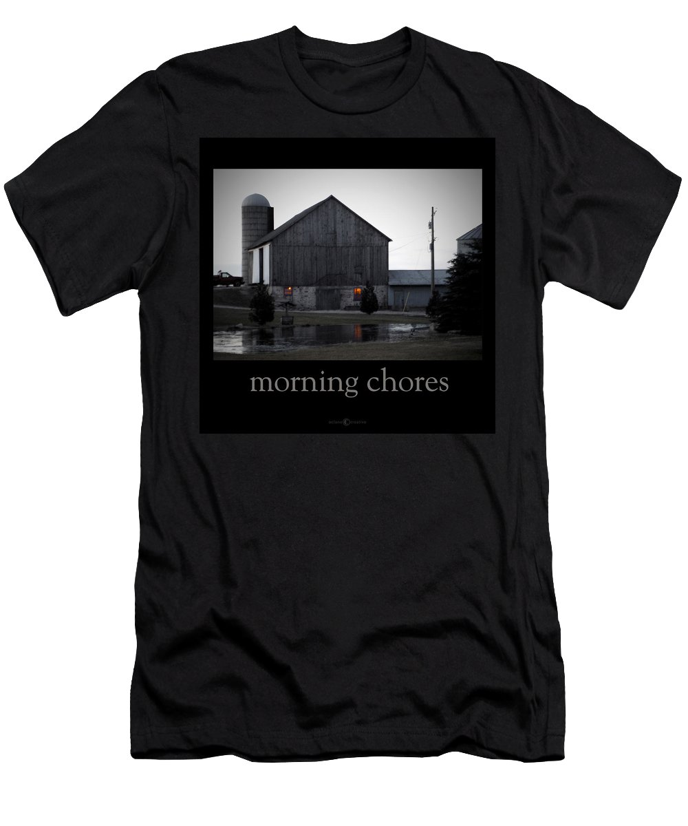 Poster Men's T-Shirt (Athletic Fit) featuring the photograph Morning Chores by Tim Nyberg