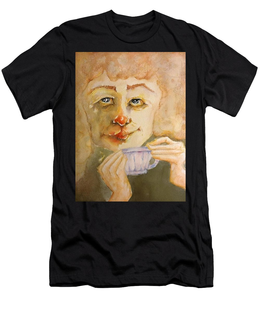 Men's T-Shirt (Athletic Fit) featuring the painting Morning Coffee Girl by Michael Rome
