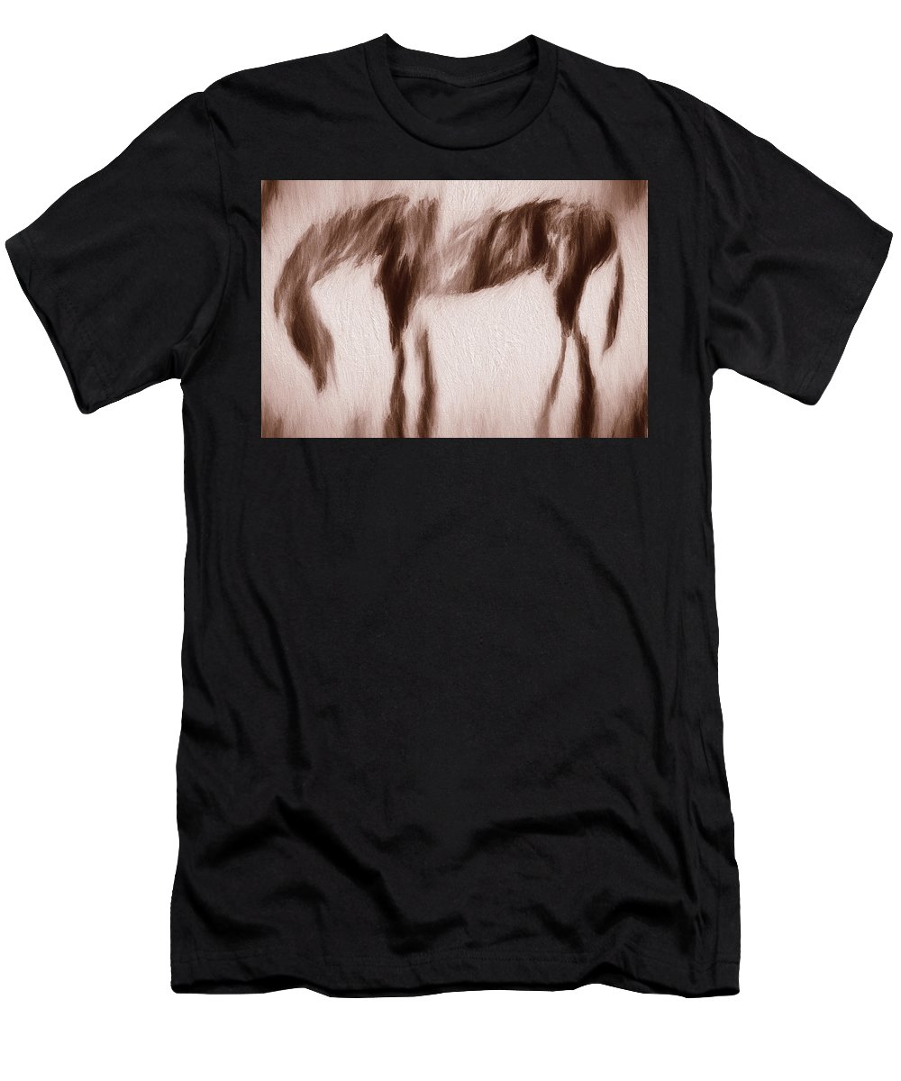 Horse Men's T-Shirt (Athletic Fit) featuring the photograph Morning Fog At El Prado by Terry Fiala