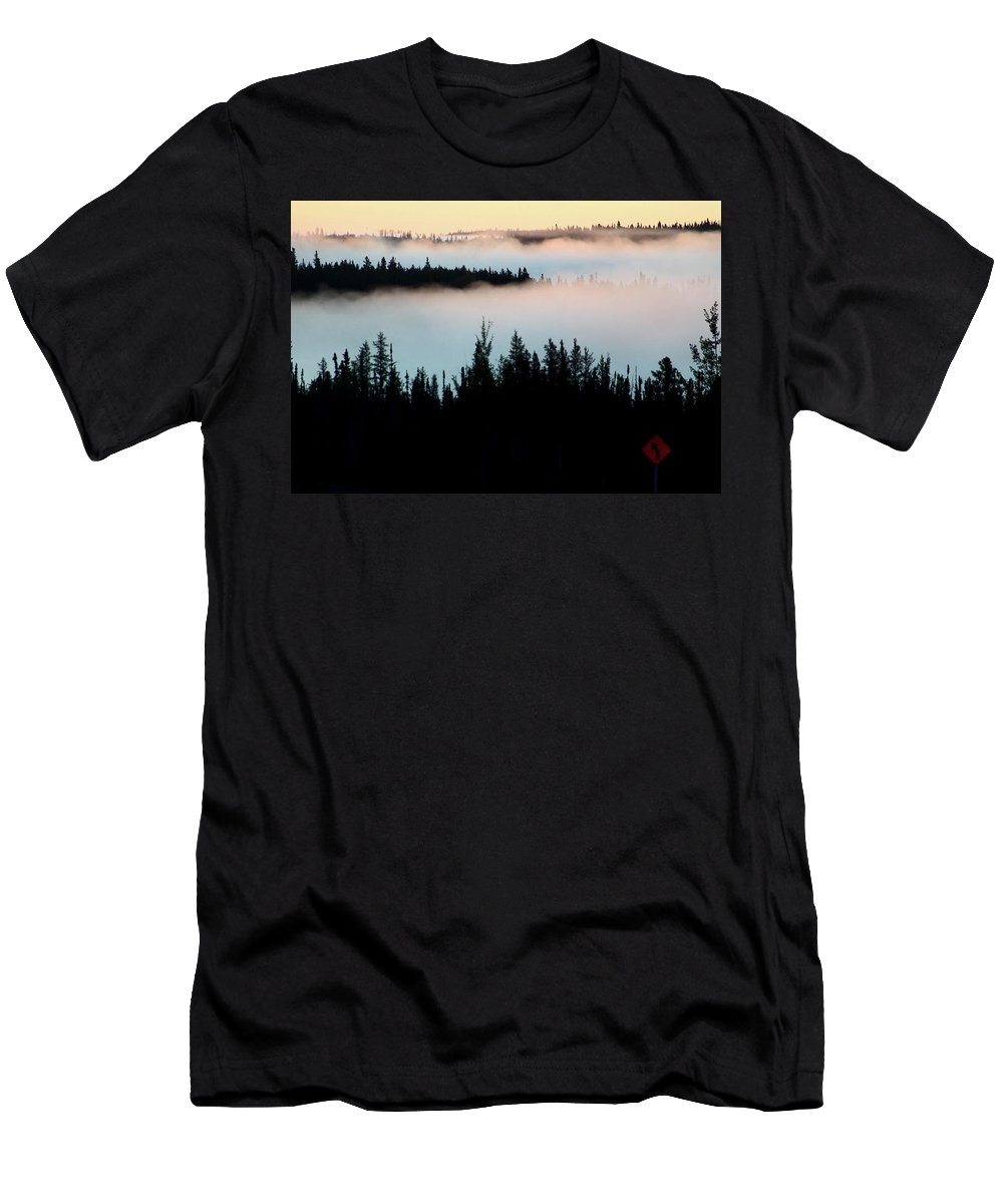 Morning Men's T-Shirt (Athletic Fit) featuring the digital art Morning Fog In Northern Saskatchewan by Mark Duffy