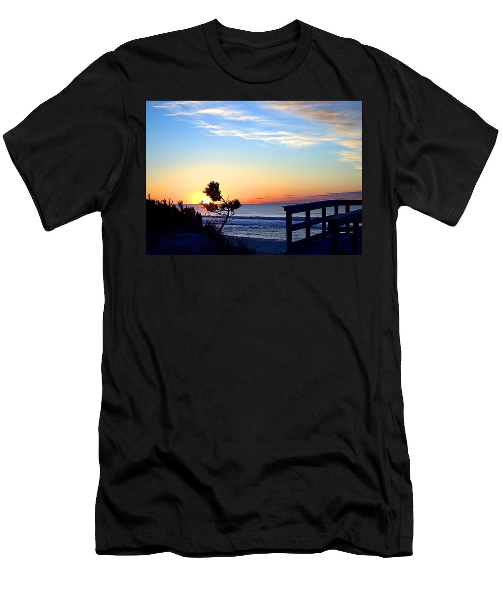 Beach Walk Men's T-Shirt (Athletic Fit) featuring the photograph Morning I I by Newwwman