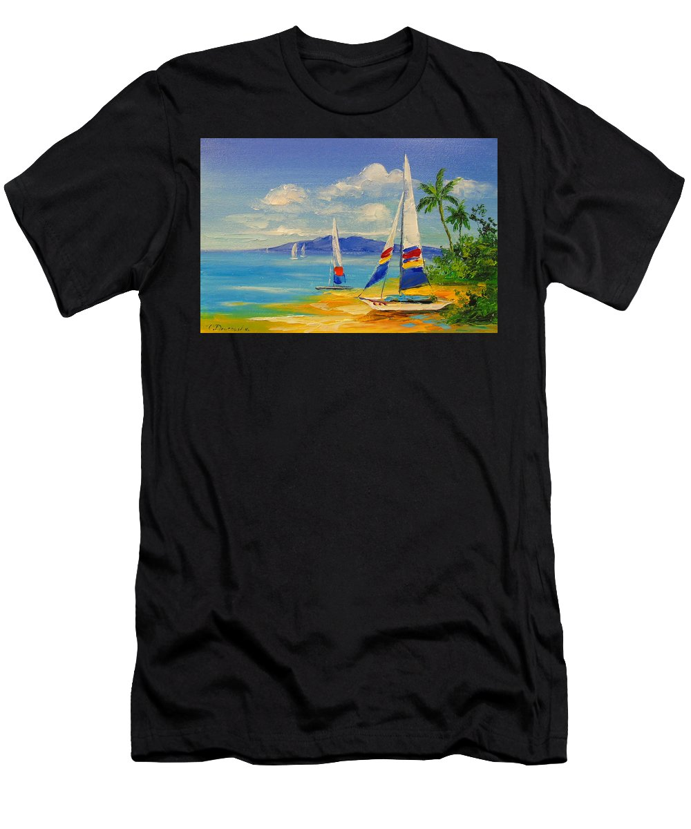 Morning On A Sunny Beach Men's T-Shirt (Athletic Fit) featuring the painting Morning On A Sunny Beach by Olha Darchuk