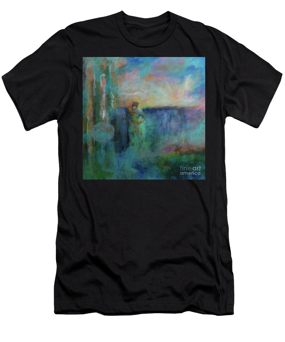 Abstract Men's T-Shirt (Athletic Fit) featuring the painting Morning Prayer by Terri Davis