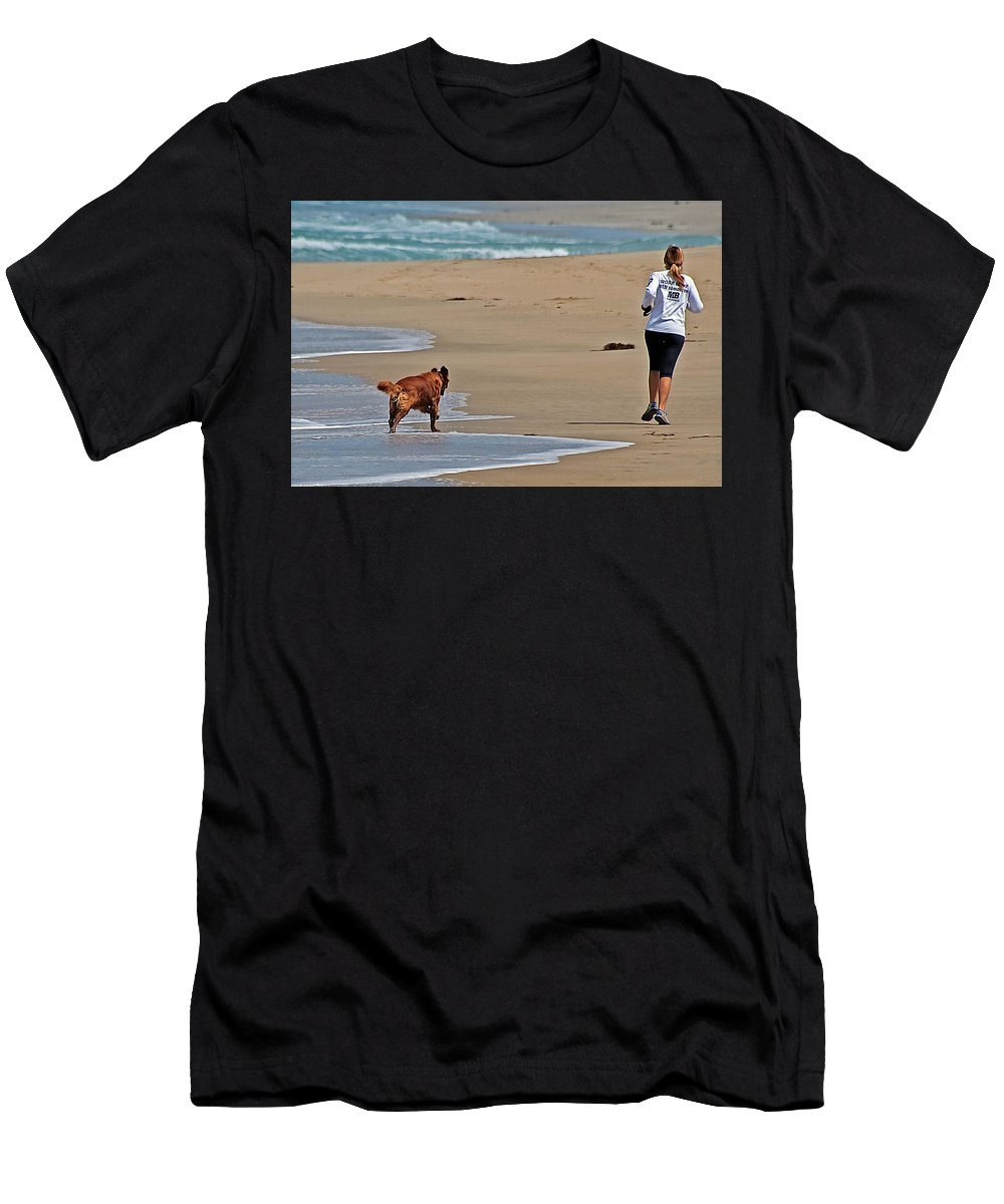 Dog Men's T-Shirt (Athletic Fit) featuring the photograph Morning Run by Jay Billings