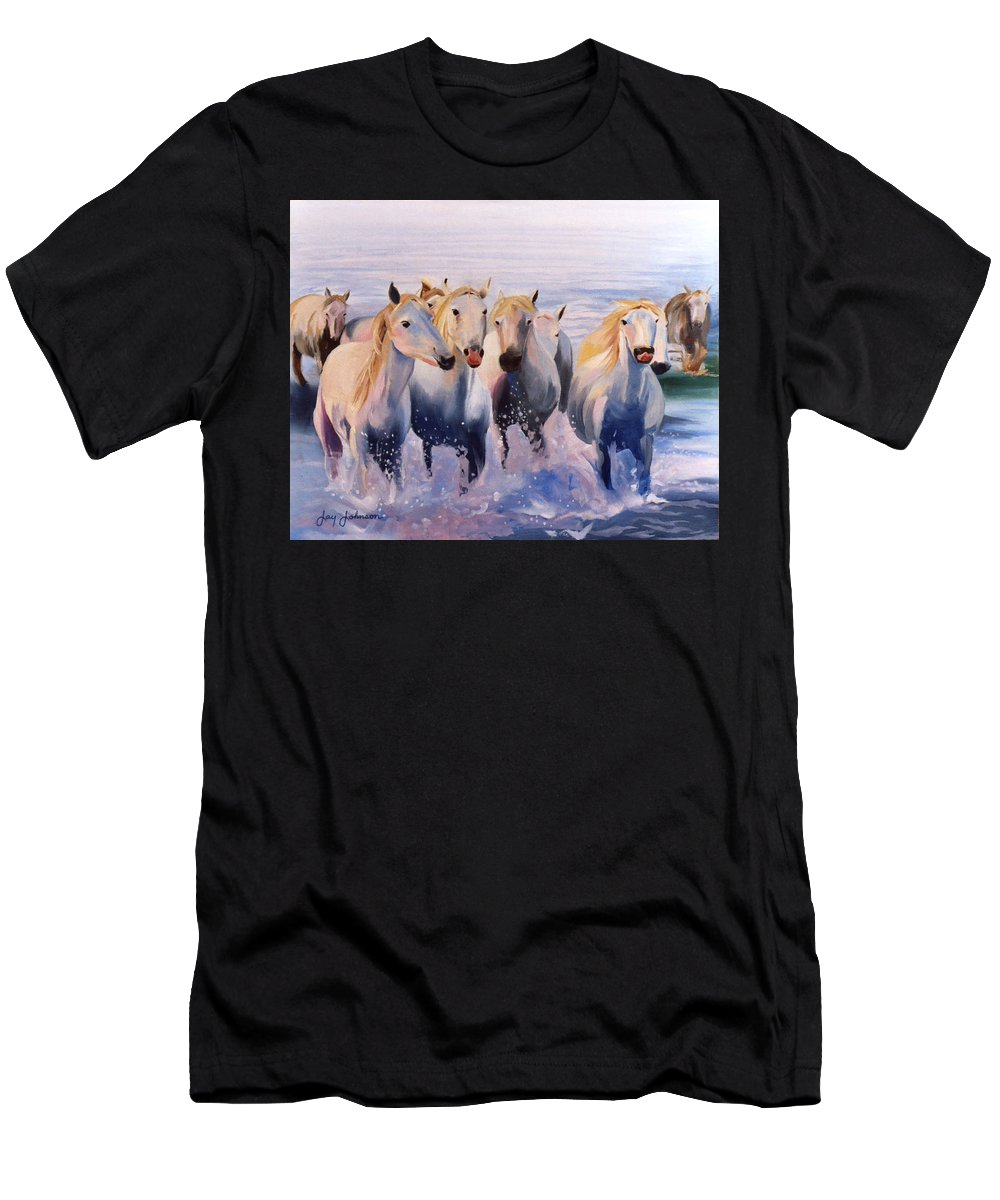 Men's T-Shirt (Athletic Fit) featuring the painting Morning Run by Jay Johnson