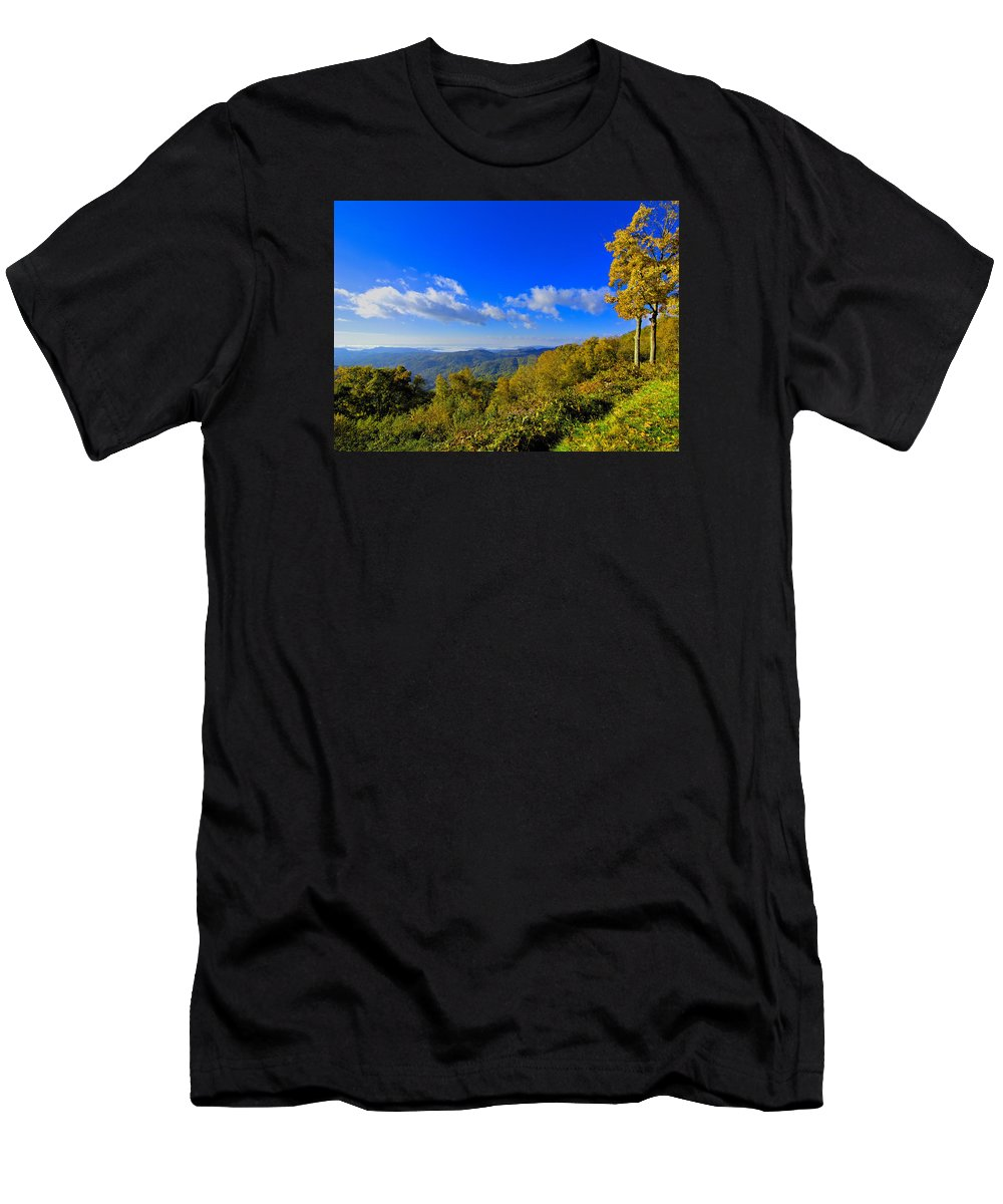 Mountains Men's T-Shirt (Athletic Fit) featuring the photograph Early Fall Morning View by Larry Jones
