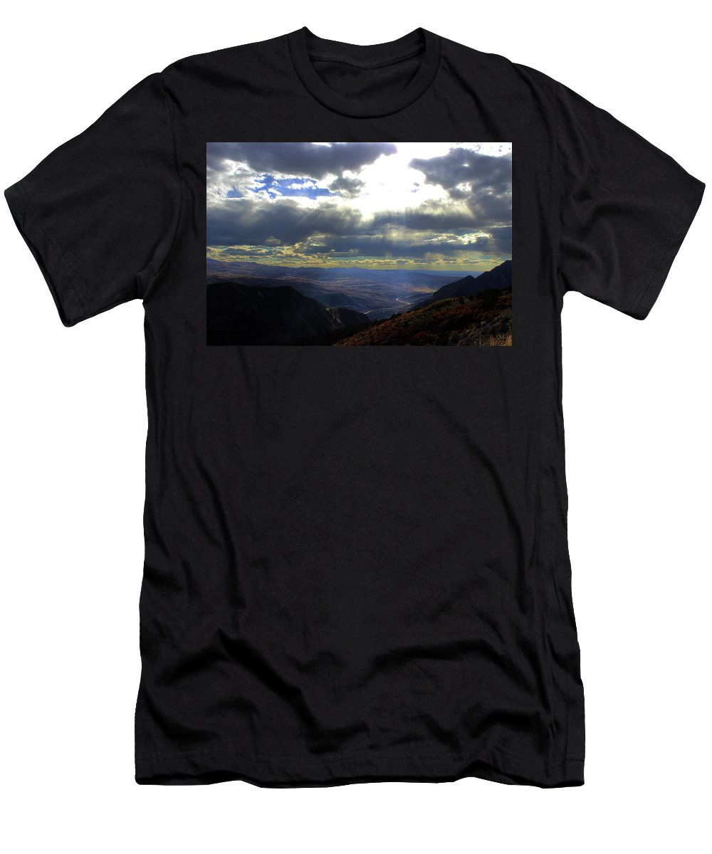 Black Canyon Men's T-Shirt (Athletic Fit) featuring the photograph Morrow Lake by Samantha Burrow