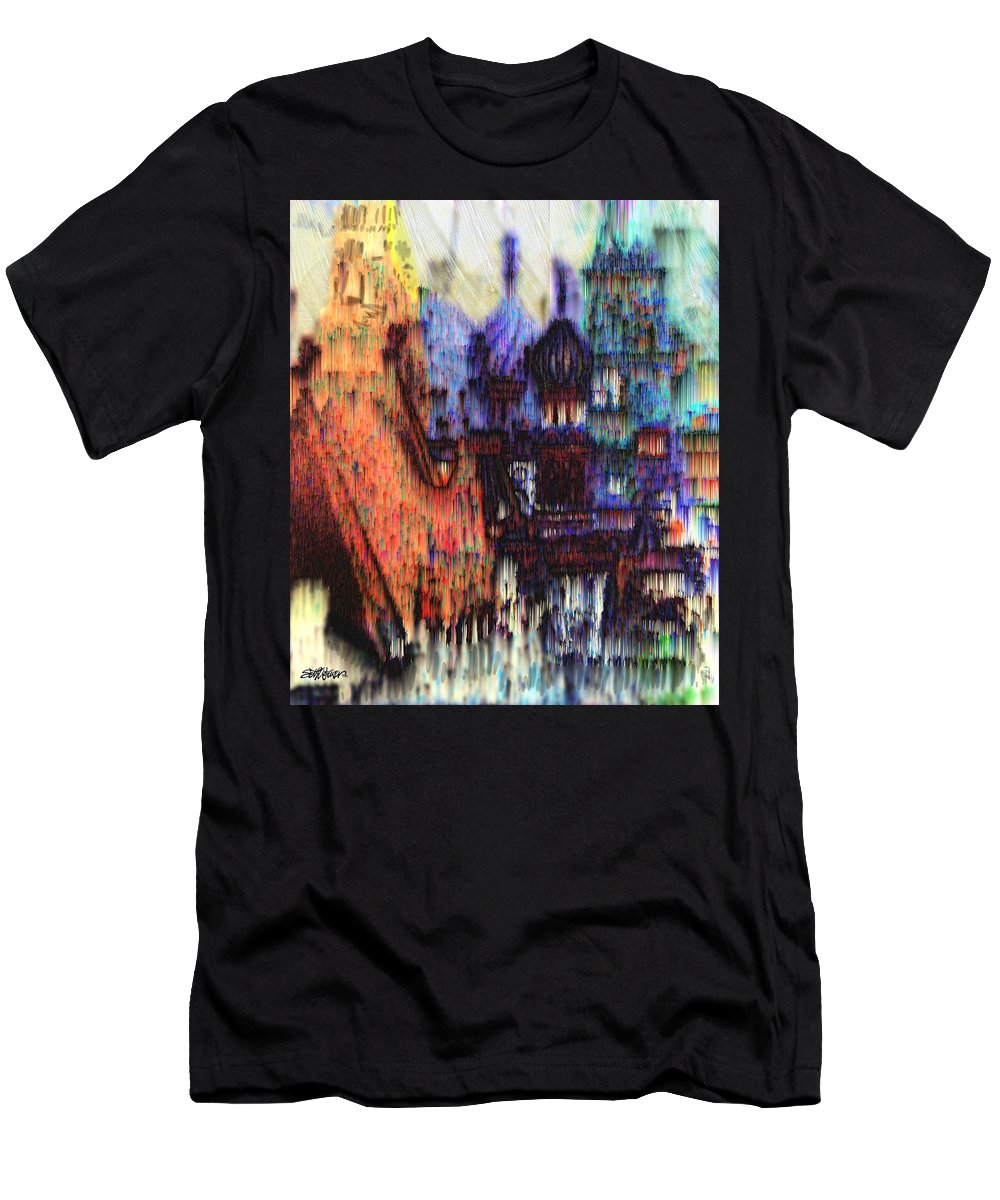 Fog Men's T-Shirt (Athletic Fit) featuring the digital art Moscow In The Rain by Seth Weaver