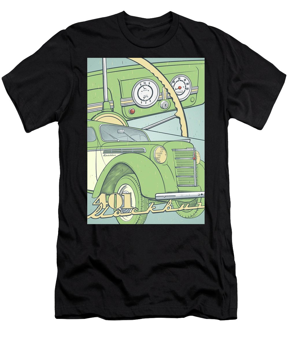 Cars Men's T-Shirt (Athletic Fit) featuring the painting Moskvich 401 by Alexander Anisenkov