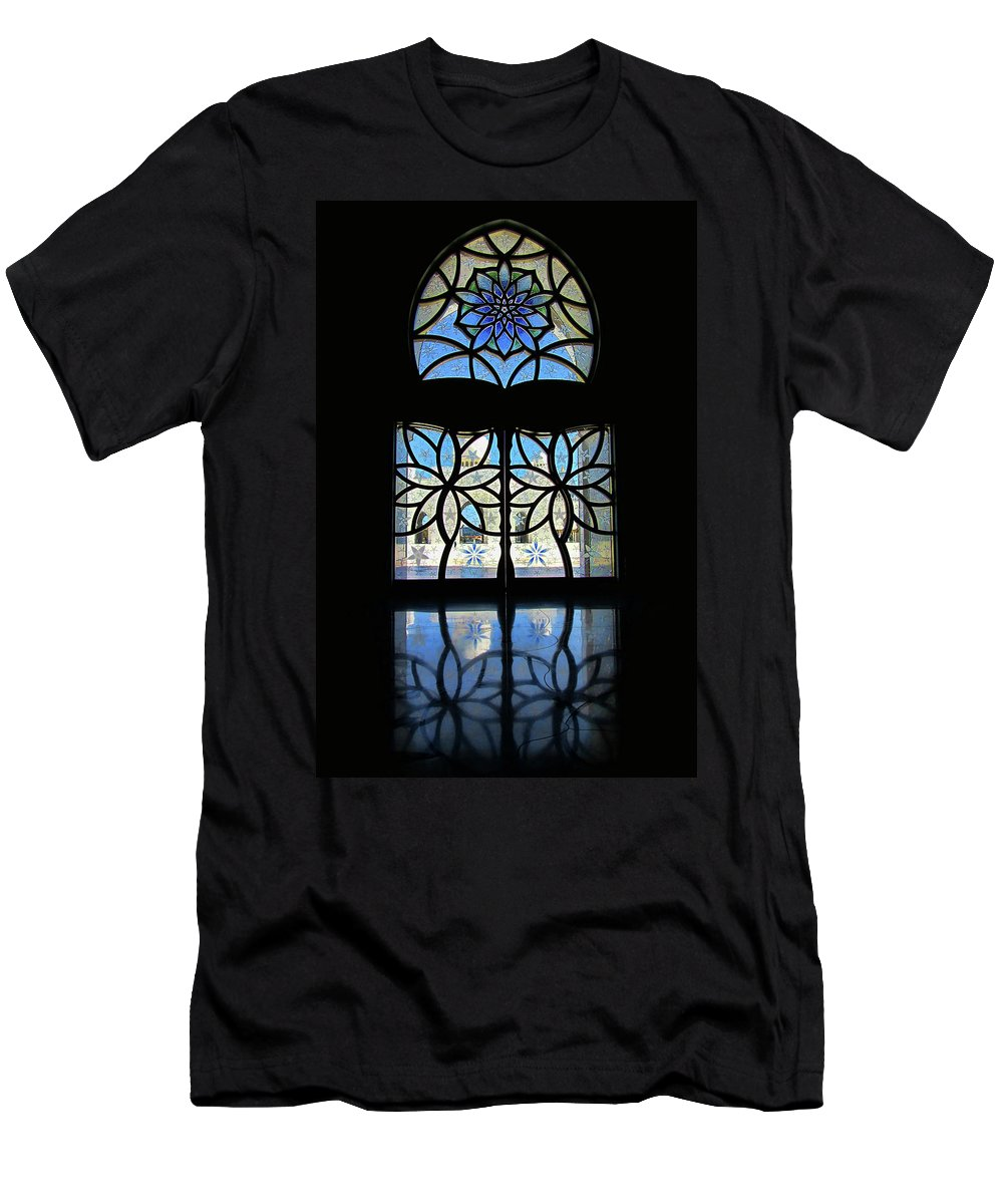 Artistic Window Men's T-Shirt (Athletic Fit) featuring the photograph Mosque Foyer Window 2 by Mark Sellers
