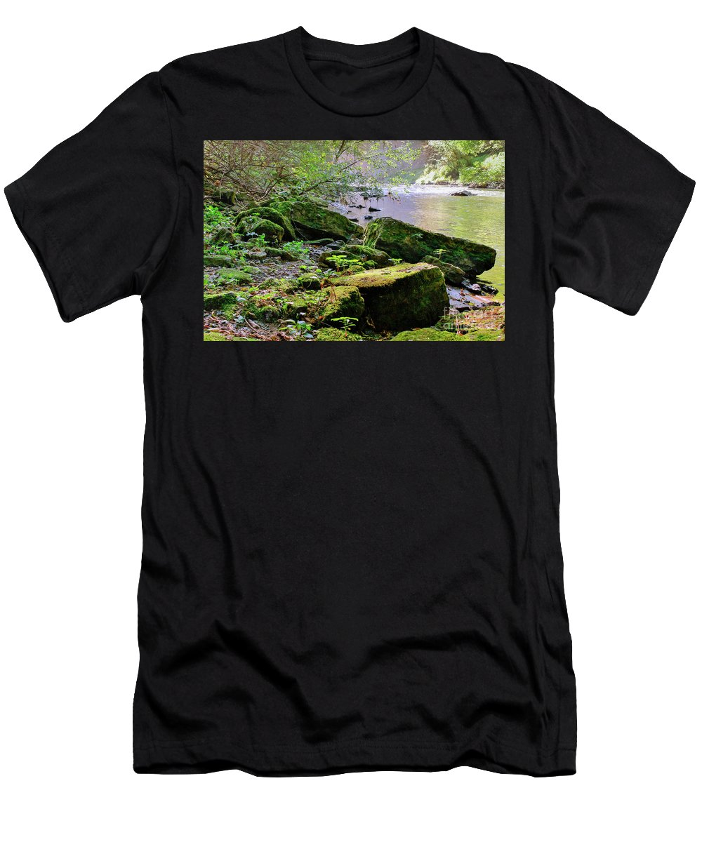 Below The Vermillion Waterfall In Hastings Mn. Men's T-Shirt (Athletic Fit) featuring the photograph Moss Covered Boulders by Lowell Stevens
