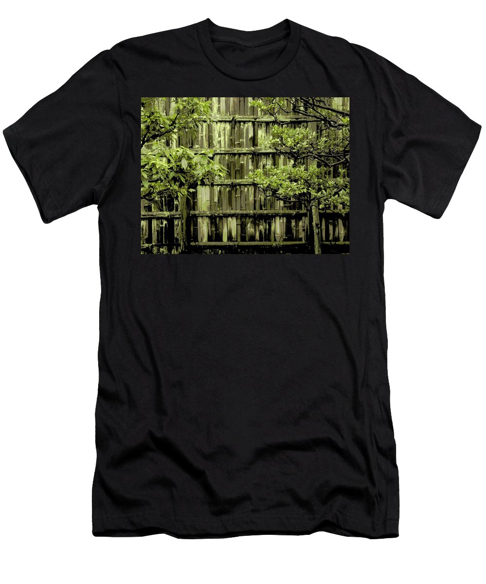 Moss Men's T-Shirt (Athletic Fit) featuring the photograph Mossy Bamboo Fence - Digital Art by Carol Groenen