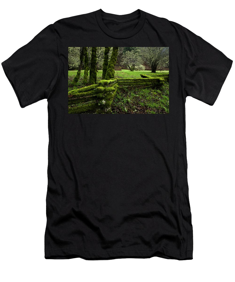 Moss Men's T-Shirt (Athletic Fit) featuring the photograph Mossy Fence 2 by Bob Christopher
