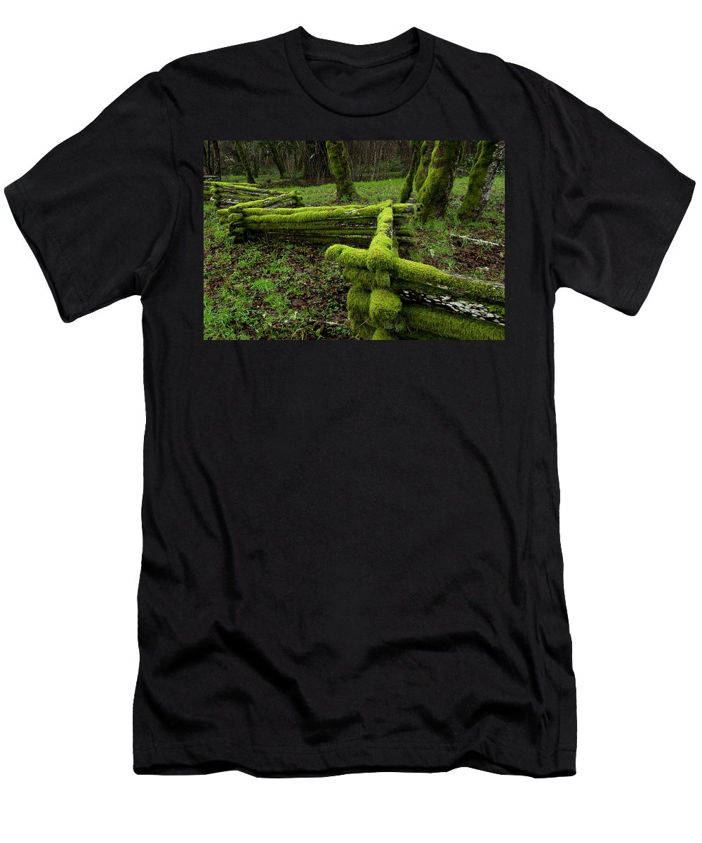 Moss Men's T-Shirt (Athletic Fit) featuring the photograph Mossy Fence 4 by Bob Christopher