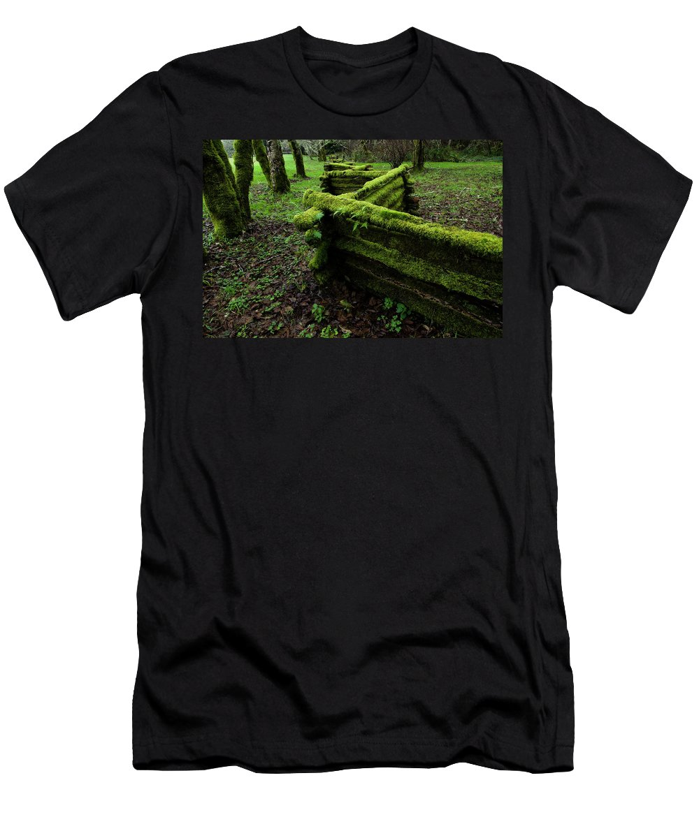 Moss Men's T-Shirt (Athletic Fit) featuring the photograph Mossy Fence 5 by Bob Christopher