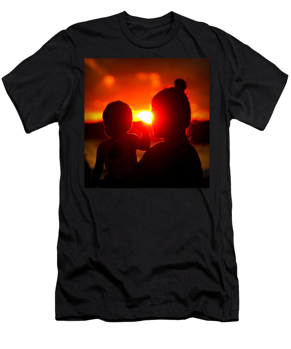 Men's T-Shirt (Athletic Fit) featuring the photograph Mother And Child On Sunset by Nikky Nish