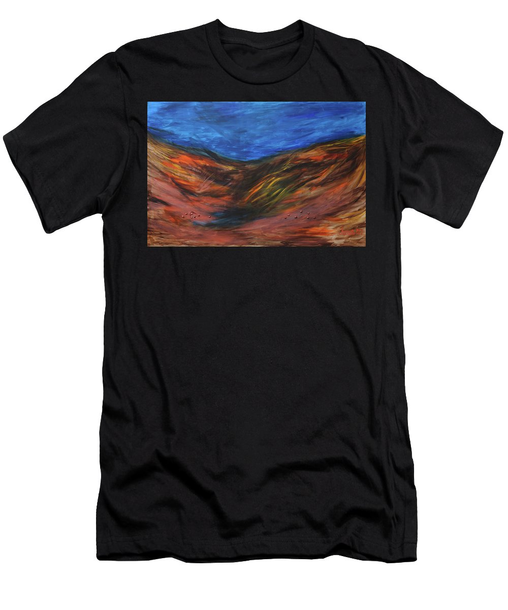 Mother Earth Men's T-Shirt (Athletic Fit) featuring the painting Mother Earth, Father Sky by Arna Vodenos