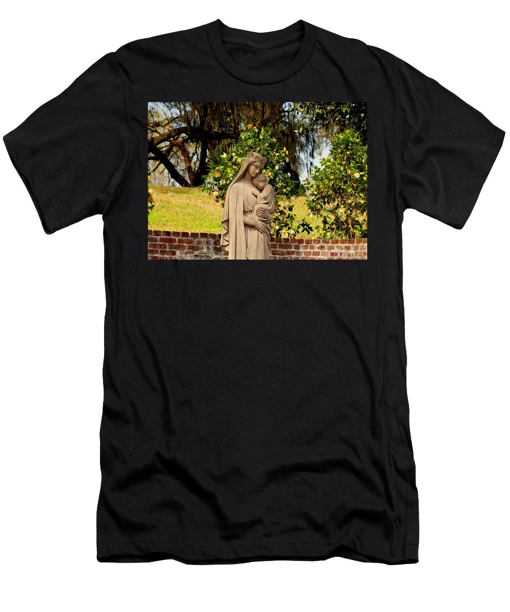 Holy Mary And Child Men's T-Shirt (Athletic Fit) featuring the photograph Mother Mary by Susanne Van Hulst