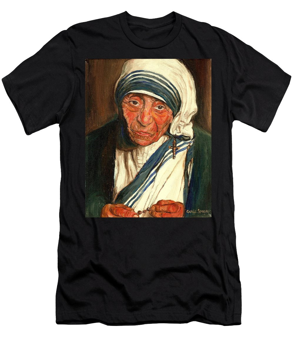Mother Teresa Men's T-Shirt (Athletic Fit) featuring the painting Mother Teresa by Carole Spandau