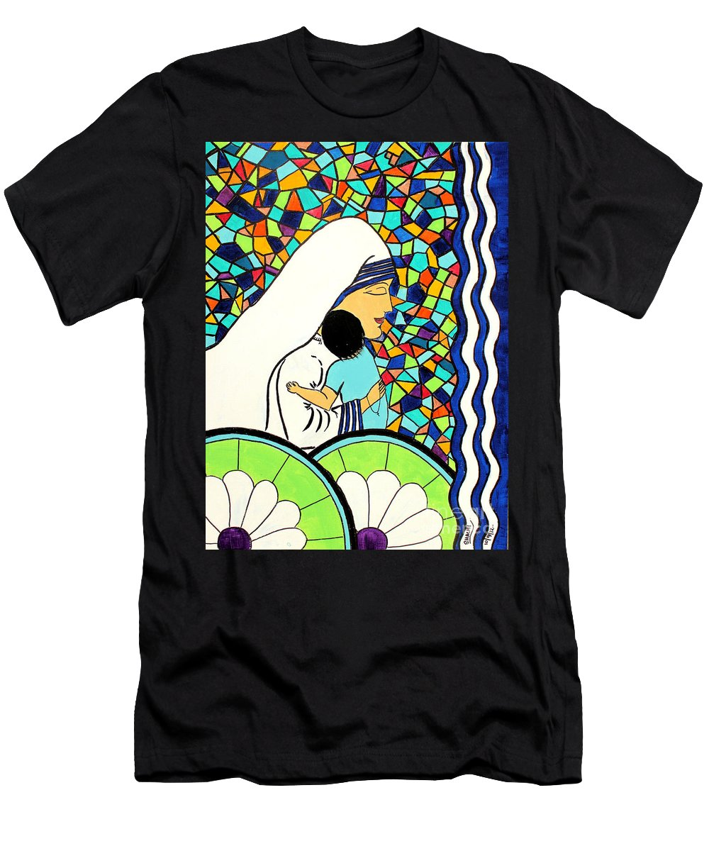 Mother Men's T-Shirt (Athletic Fit) featuring the painting Mother Teressa by Shachi Srivastava
