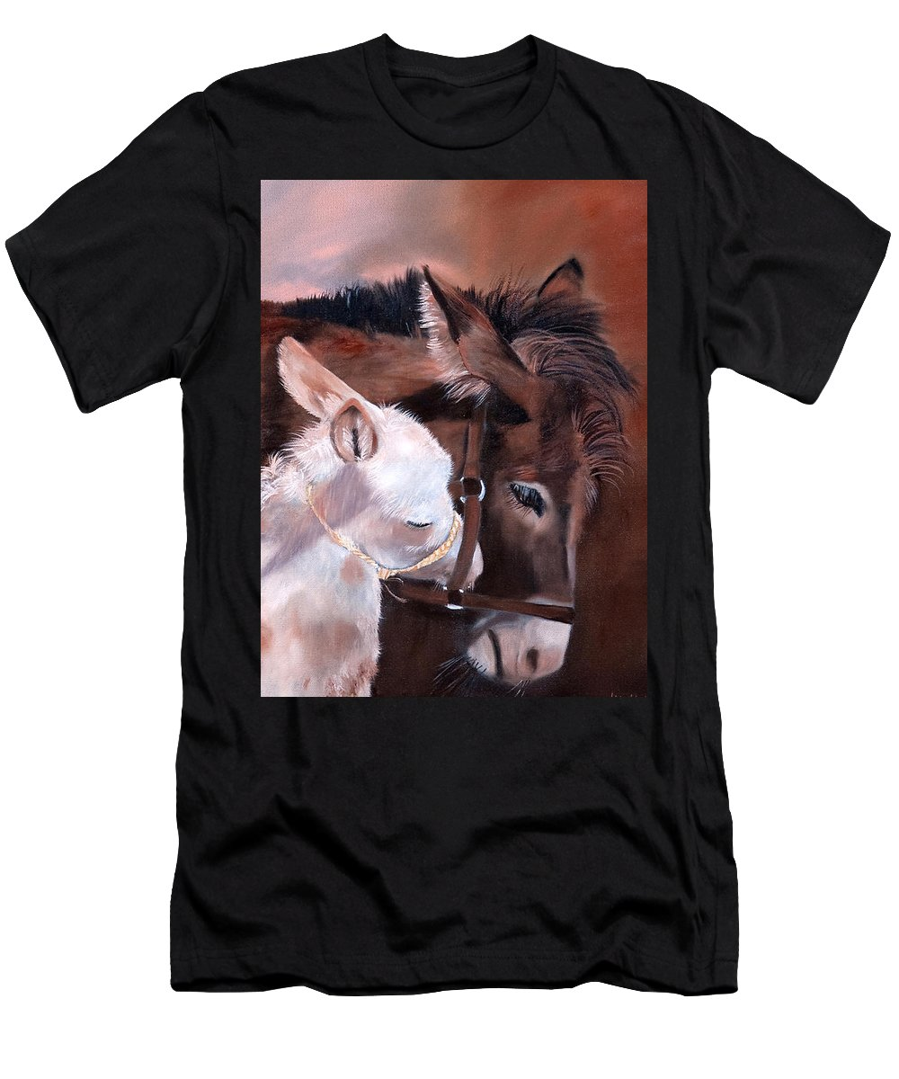 Jan Holman Art Paintings 2010 Men's T-Shirt (Athletic Fit) featuring the painting Motherly Love by Jan Holman