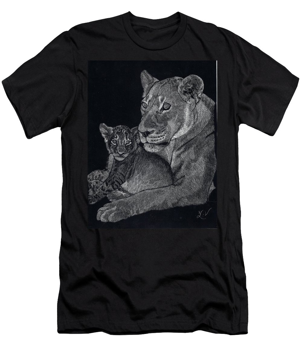 Lion Men's T-Shirt (Athletic Fit) featuring the drawing Mothers Arms by Yenni Harrison