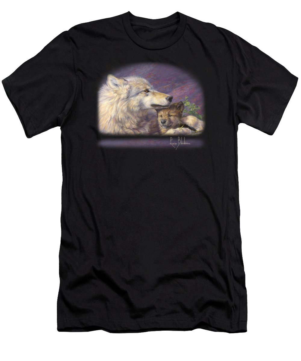 Wolf Men's T-Shirt (Athletic Fit) featuring the painting Mother's Love by Lucie Bilodeau