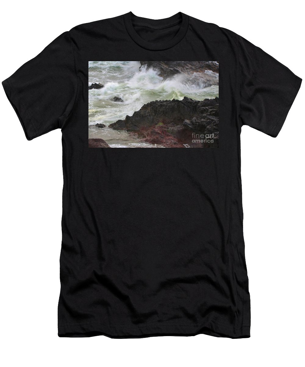 Seascape Men's T-Shirt (Athletic Fit) featuring the photograph Motion Of A Wave by Sheila Ping