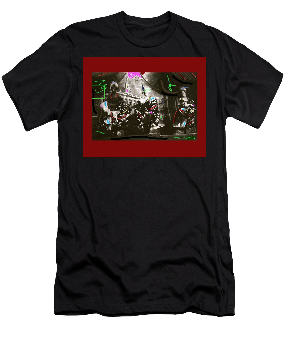 Moulin Rouge Homage Diamond Tooth Gerties Chorus Line Dawson City Yukon Territory Canada 1977-2008 Men's T-Shirt (Athletic Fit) featuring the photograph Moulin Rouge Homage Diamond Tooth Gerties Chorus Line Dawson City Yukon Territory Canada 1977-2008 by David Lee Guss