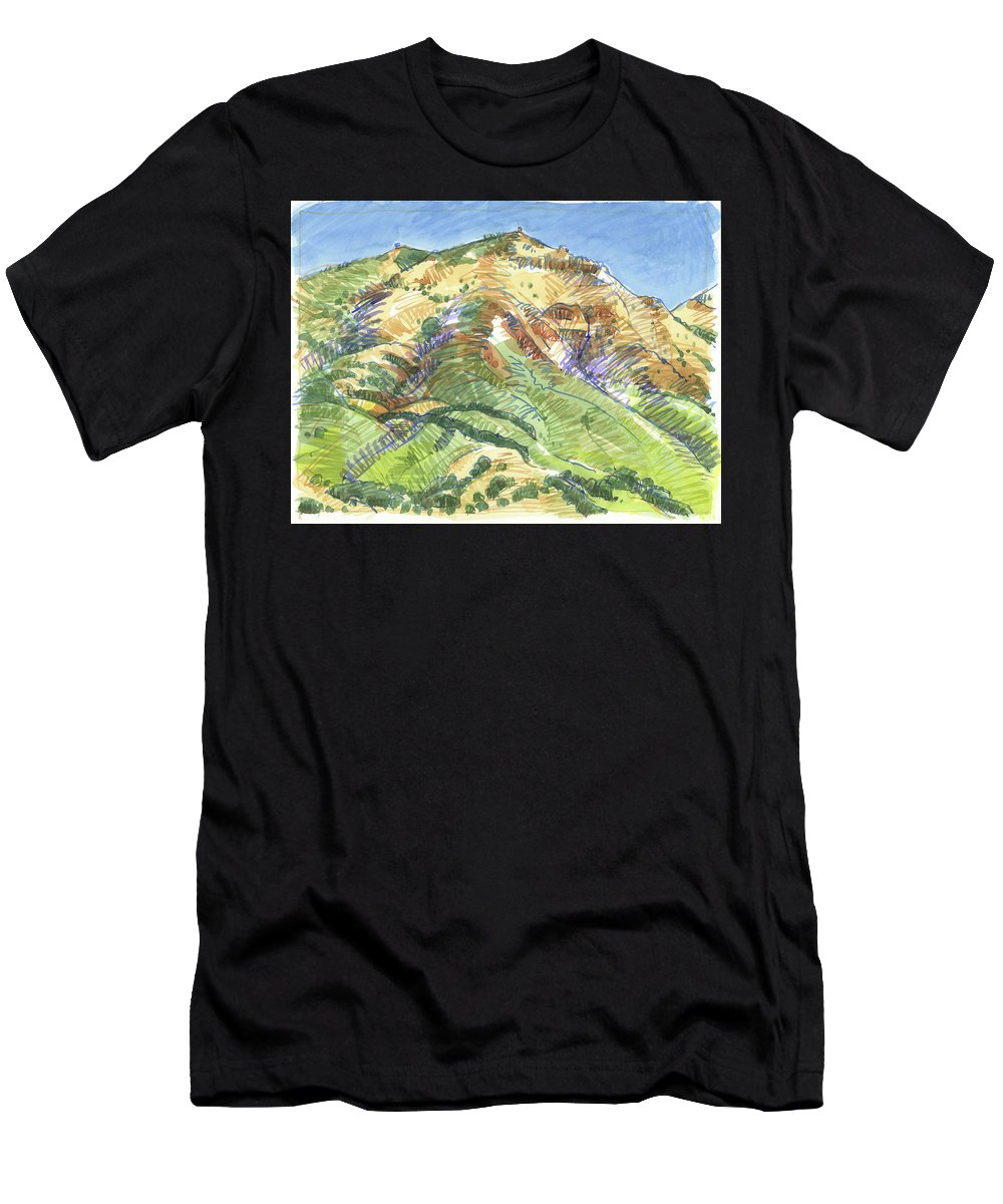 Landscape Men's T-Shirt (Athletic Fit) featuring the painting Mount Diablo From Curry Valley Ridge by Judith Kunzle