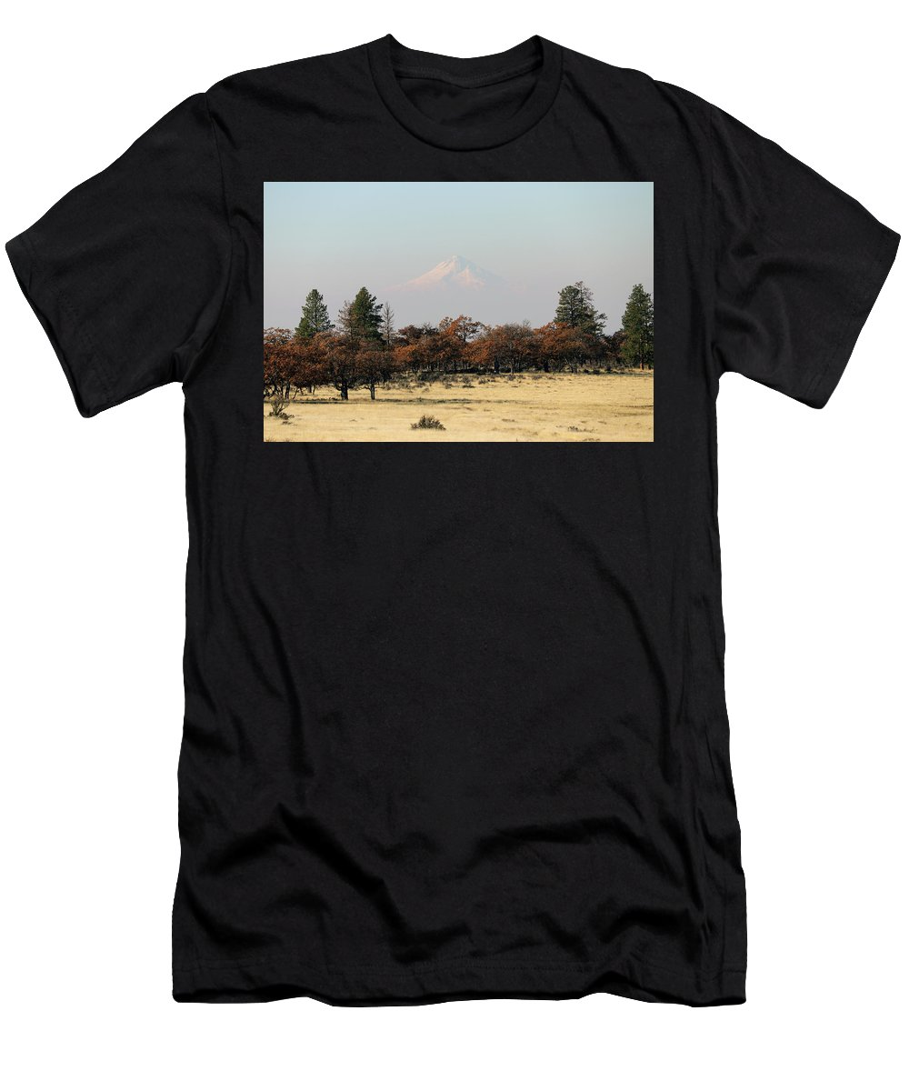 Mount Hood Men's T-Shirt (Athletic Fit) featuring the photograph Mount Hood Over The Flats by Mary Masters