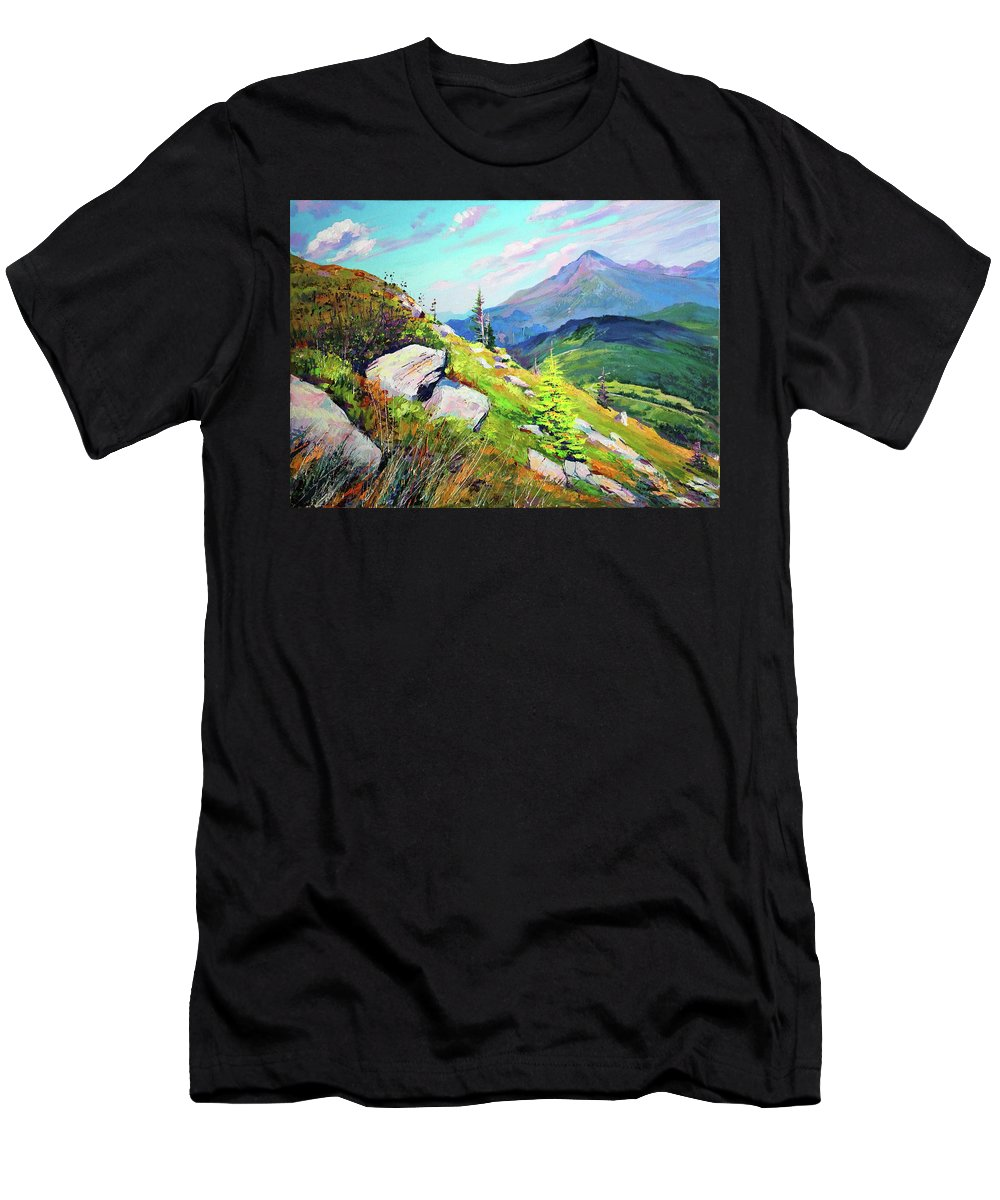Mountains Men's T-Shirt (Athletic Fit) featuring the painting Mount Hoverla by Bohdan Saliy