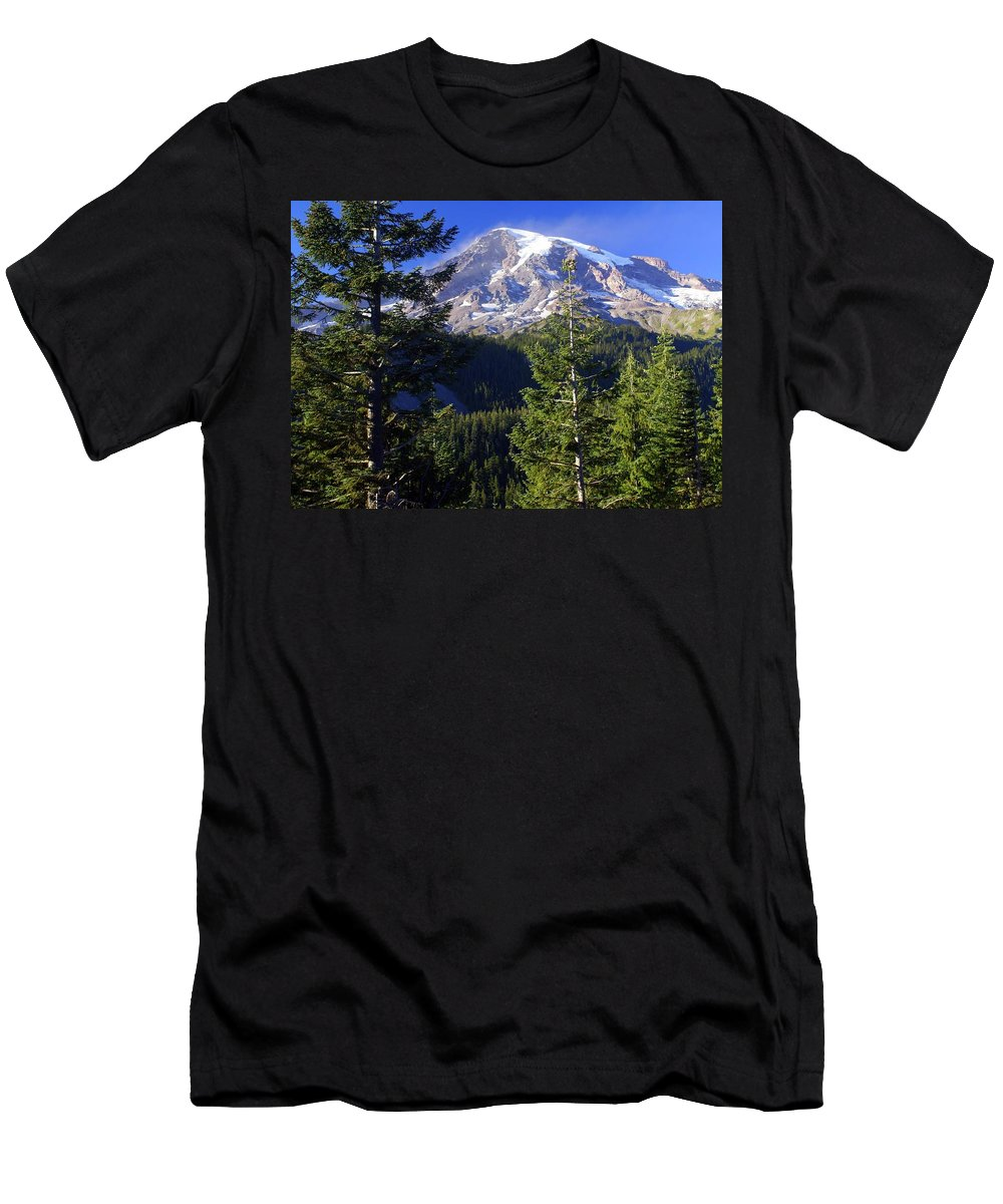Mount Raineer Men's T-Shirt (Athletic Fit) featuring the photograph Mount Raineer 1 by Marty Koch