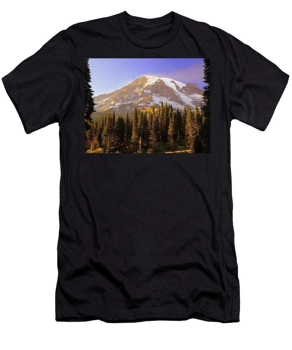 Mt. Raineer Men's T-Shirt (Athletic Fit) featuring the photograph Mount Raineer 2 by Marty Koch