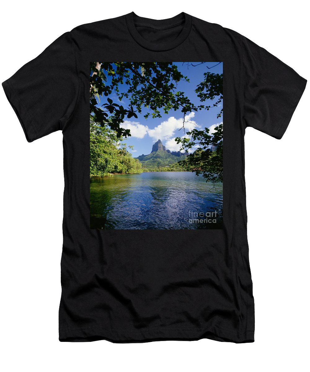 Across Men's T-Shirt (Athletic Fit) featuring the photograph Mount Rotui From Across Opunohu Bay by Ron Dahlquist - Printscapes